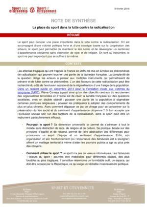 thumbnail of Note de synthèse – Lutte contre la radicalisation – Think tank Sport et Citoyenneté