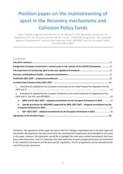 thumbnail of Position paper on the mainstreaming of sport in the Recovery mechanisms and Cohesion Policy funds_final